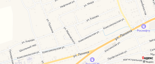 Комсомольский переулок на карте села Иволгинск с номерами домов