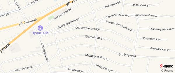 Шоссейная улица на карте села Иволгинск с номерами домов