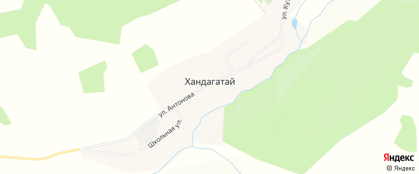 Карта села Хандагатая в Бурятии с улицами и номерами домов