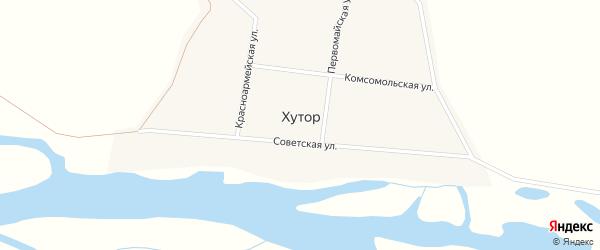 Красноармейская улица на карте села Хутора с номерами домов