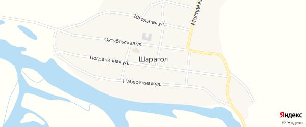 Пограничная улица на карте села Шарагола с номерами домов