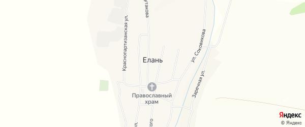 Карта села Елани в Бурятии с улицами и номерами домов