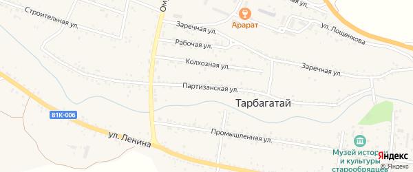 Партизанская улица на карте села Тарбагатая с номерами домов
