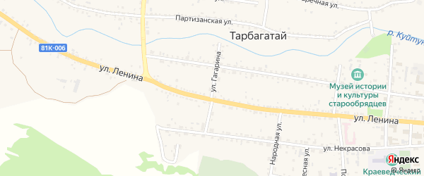 Улица Гагарина на карте села Тарбагатая с номерами домов