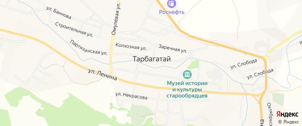 Местность Омулевка на карте села Тарбагатая с номерами домов