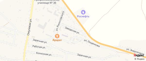 Заводская улица на карте села Тарбагатая с номерами домов