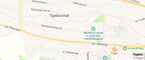 Промышленная улица на карте села Тарбагатая с номерами домов