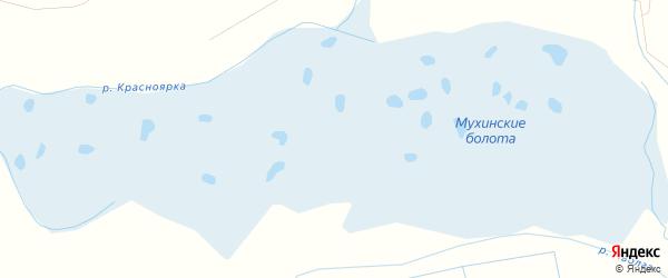 Местность Мухинские болота на карте села Сотниково с номерами домов