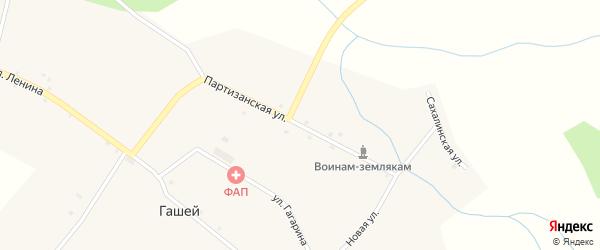 Партизанская улица на карте села Гашей с номерами домов