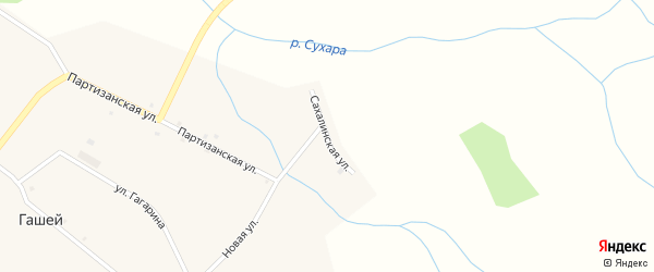 Сахалинская улица на карте села Гашей с номерами домов