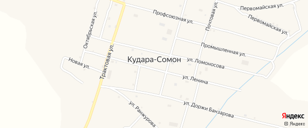 Школьный переулок на карте села Кудары-Сомон с номерами домов