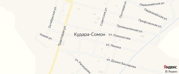 Улица Доржи Банзарова на карте села Кудары-Сомон с номерами домов