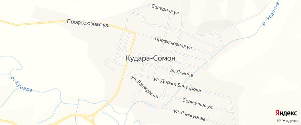 Карта села Кудары-Сомон в Бурятии с улицами и номерами домов