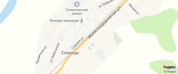 Железнодорожная улица на карте села Солонцов с номерами домов