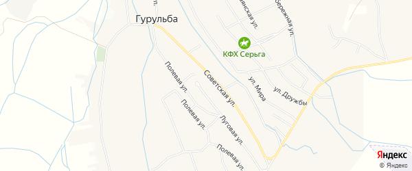 Местность Хуриганово на карте села Гурульбы с номерами домов