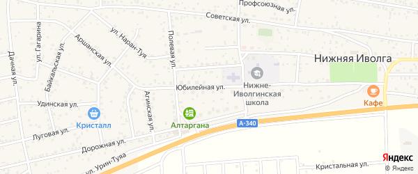 Юбилейная улица на карте села Нижней Иволги с номерами домов