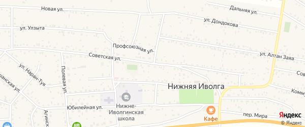 Советская улица на карте села Нижней Иволги с номерами домов