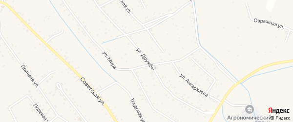 Улица Дружбы на карте села Гурульбы с номерами домов