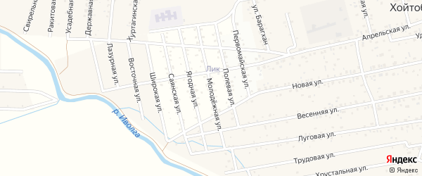 ДНТ Авиатор-2 Молодежная улица на карте улуса Хойтобэе с номерами домов
