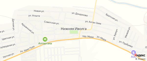 Территория ДНТ Карьер на карте села Нижней Иволги с номерами домов