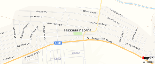 Территория ДНТ Авангард на карте села Нижней Иволги с номерами домов