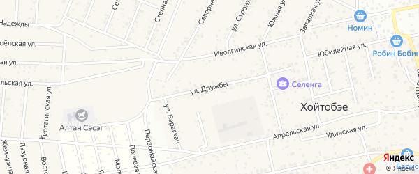 Улица Дружбы на карте улуса Хойтобэе с номерами домов