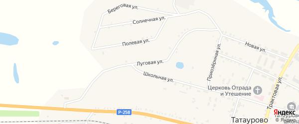 Луговая улица на карте поселка Татаурово с номерами домов