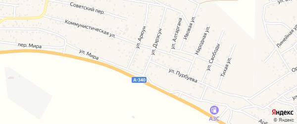 Улица Дэрэсун на карте села Нижней Иволги с номерами домов