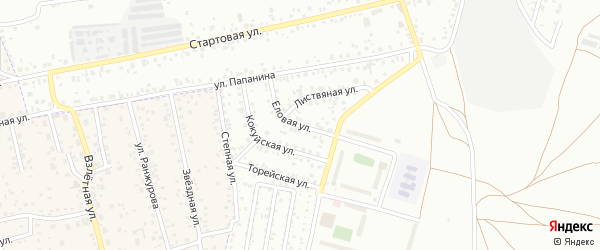 Еловая улица на карте территории ДНТ Оптимиста с номерами домов