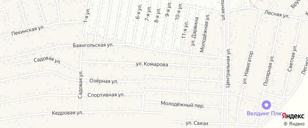 Улица Комарова на карте территории ДНТ Авиатор-2 с номерами домов