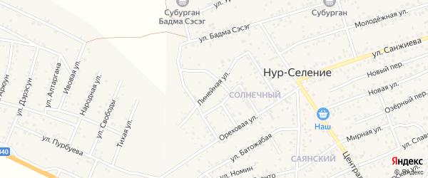 Линейная улица на карте улуса Нур-селения с номерами домов