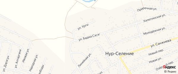 Улица Бадма-Сэсэг на карте улуса Нур-селения с номерами домов