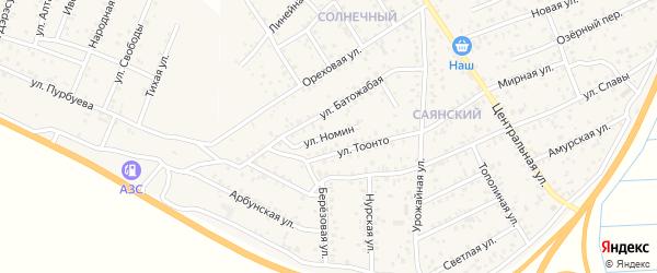 Улица Номин на карте улуса Нур-селения с номерами домов