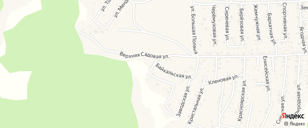 Квартал Южный Байкальский переулок на карте села Сотниково с номерами домов