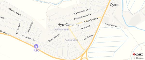 Территория ДНТ Содружество на карте улуса Нур-селения с номерами домов