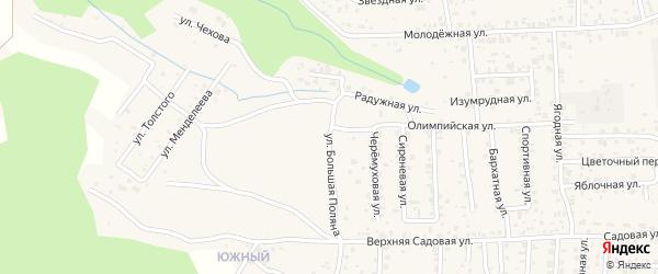 Улица Большая Поляна на карте села Сотниково с номерами домов