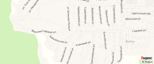 Верхняя Садовая улица на карте села Сотниково с номерами домов