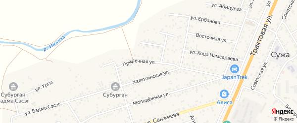 Приречная улица на карте улуса Нур-селения с номерами домов
