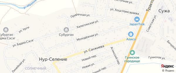 Молодежная улица на карте улуса Нур-селения с номерами домов