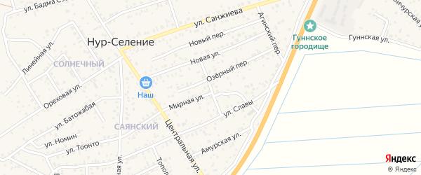 Озерный переулок на карте улуса Нур-селения с номерами домов