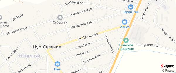 Улица Санжиева на карте улуса Нур-селения с номерами домов