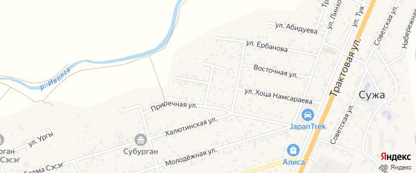 Приречный переулок на карте улуса Нур-селения с номерами домов