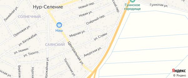 Улица Славы на карте улуса Нур-селения с номерами домов