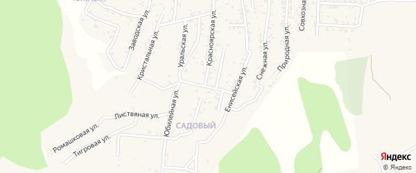 Квартал Садовый Красноярский переулок на карте села Сотниково с номерами домов