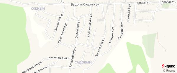 Квартал Садовый Красноярская улица на карте села Сотниково с номерами домов