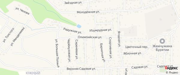 Олимпийская улица на карте села Сотниково с номерами домов
