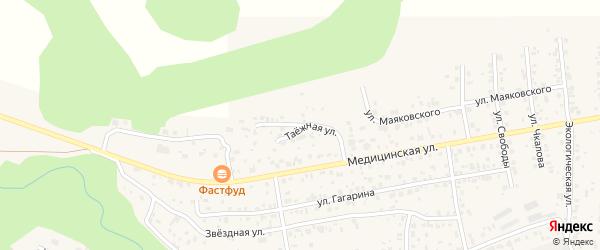 Таежная улица на карте села Сотниково с номерами домов