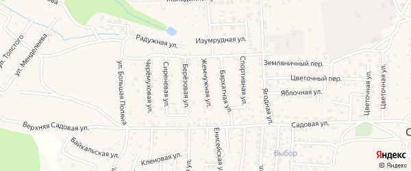 Жемчужная улица на карте села Сотниково с номерами домов