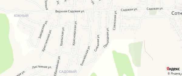 Квартал Садовый Енисейская улица на карте села Сотниково с номерами домов