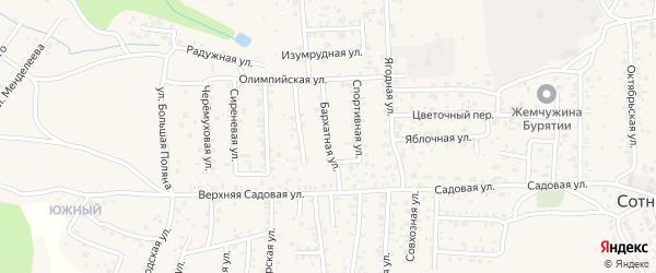 Бархатная улица на карте села Сотниково с номерами домов